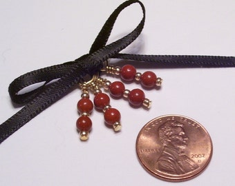 Brown and Gold Beaded Stitch Markers for Socks or Lace - Set of 4