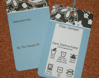 Gift Tags for Handknit Gifts - Blue Floral