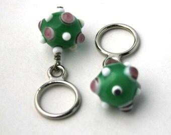 Mint Green Sputnik Glass Beaded Stitch Markers - LARGE - Set of 2