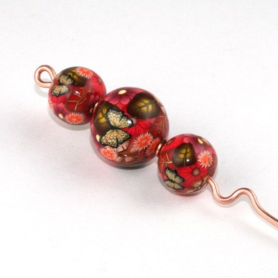 Copper and Polymer Clay Orifice Hook - Red Floral with Butterflies