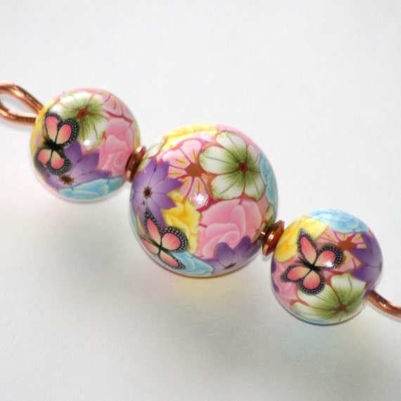 Copper and Polymer Clay Orifice Hook - Pastel Florals with Butterflies