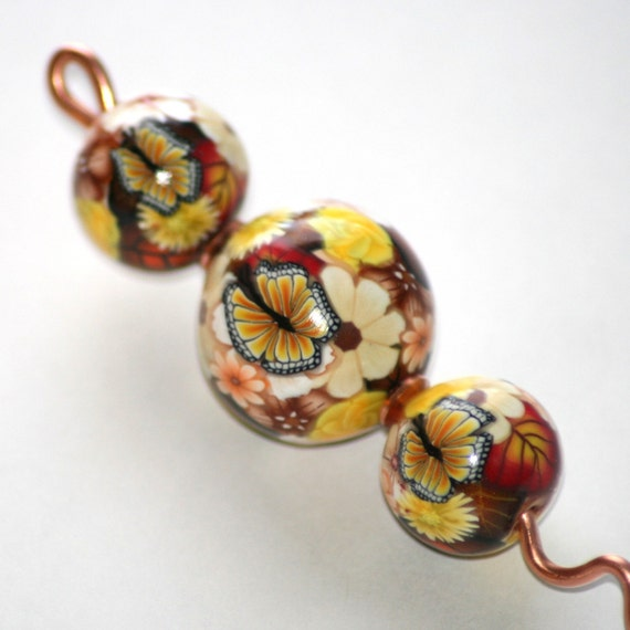 Copper and Polymer Clay Orifice Hook - Yellow Floral with Butterflies