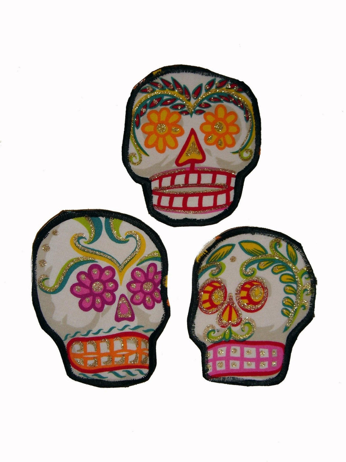 Sugar Skull Patches Day of the Dead Set of 3 SS12