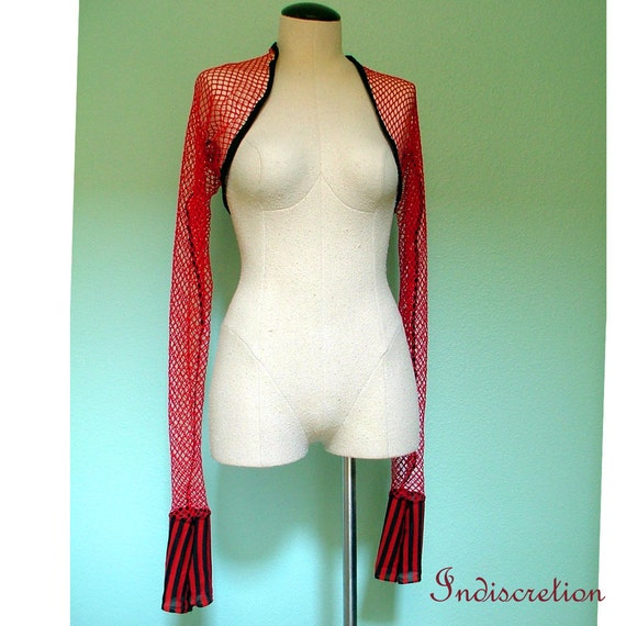 Red and Black with Stripes Fishnet Shrug M-L