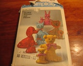vintage simplicity pattern 9098 stuffed animals and pillows