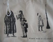 Edward Gorey Tote Bag with Noose Keychain SHIPS FREE in the US