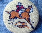 recycled french wool equestrian pin button