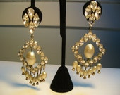 Rhinestone and Pearl Chandelier Earrings