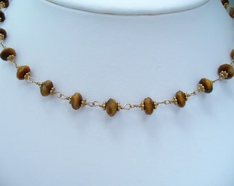 Tigers Eye and Gemstone Necklace