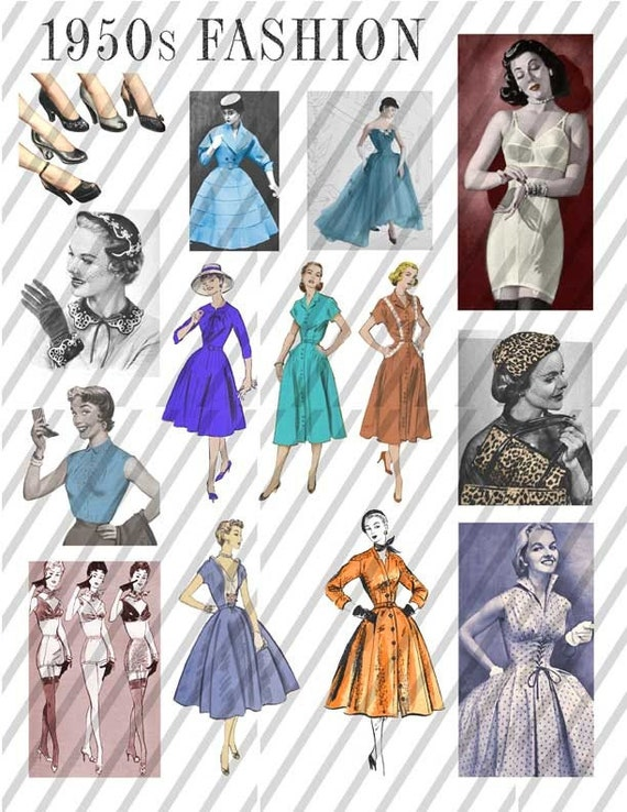 1950s 50s Fashion Collage Sheet Download by FenderskirtsVintage
