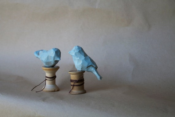 Two BlueBirds on Antique Spoosl Vintage Inspired Folk Art by Trieste Prusso
