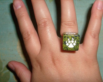 5 DOLLAR SALE Role playing rpg green marble paw print die ring