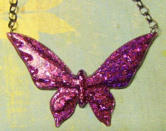 SALE- hot pink glitter butterfly necklace