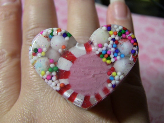 SALE extra large candy heart ring big and bold