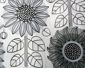 Black and white floral - scandinavian fabric