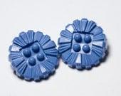 2 Vintage Blue flower buttons. Plastic\/ Bakelite.