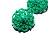 3 Green Filigree vintage Plastic Buttons