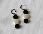 Earrings - Black Onyx and Coin Pearl Lever Backs