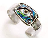 Sterling Silver Blue Eye Cuff Bracelet with iridescent polymer clay inlay