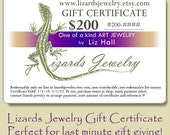 200 Dollar Gift Certificate Lizards Jewelry