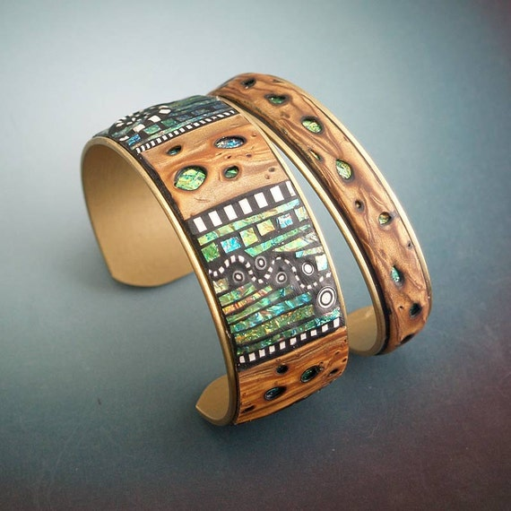 2 Iridescent Mosaic Brass Cuff Bracelets