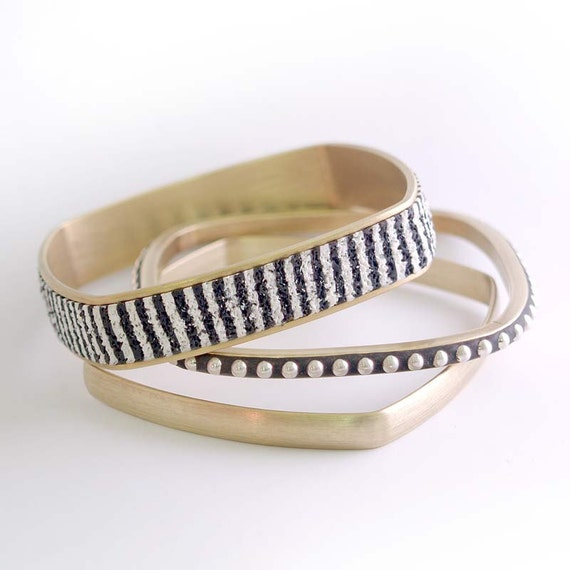 Square Brass Bangle Bracelets with inlaid Sterling beads textured black and white polymer.