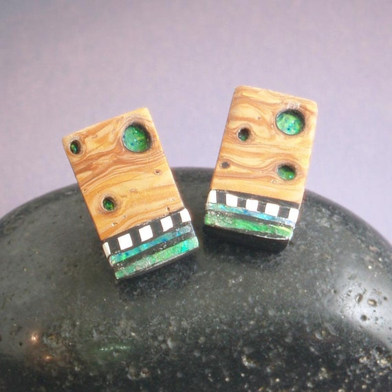 Earrings polymer Iridescent mosaic inlay faux burl wood sterling posts