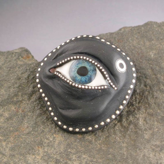 Eye Pin or Pendant Polymer clay with sterling