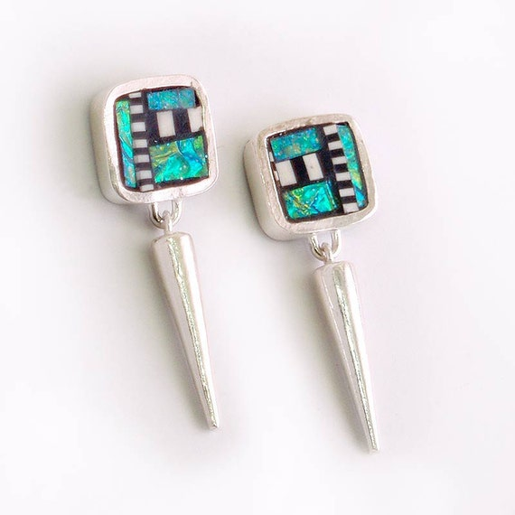 Silver Dangle Post Earrings with polymer Iridescent mosaic inlay