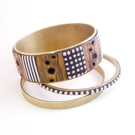 Bangle Bracelets with faux polymer burl wood black white stripes and inlaid sterling beads