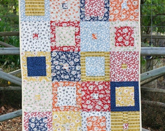 Blue, Yellow and Red Modern Baby Quilt