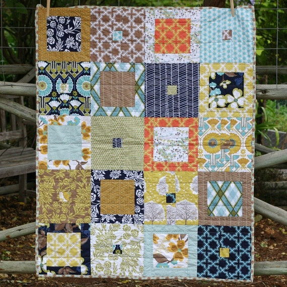Brown And Blue Modern Baby Quilt