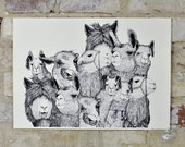 Llama Family - Limited Edition One Color Screen Print - Artwork by Karl Addison