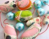 Sherbert Necklace - Soft Fabric Beads with Shell Pearls - Gift Boxed - SALE