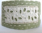 Inspiration Grows Linen and Vintage Lace Cuff Bracelet - OOAK Fabric Jewelry