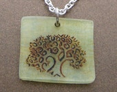 Limey fractal tree necklace in greens