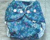 Waterproof Diaper Cover, Vintage blue floral fabric