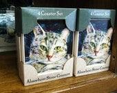 Stone Coasters- Set of 4 Grey Tabby Cat Hostess Housewarming Gift Stocking Stuffer Pet Lover Owner Feline
