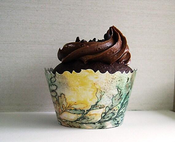 Fern Leaves Cupcake Wrapper- Printable Download PDF DIY