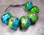 river rock jewels uno (6) lampwork glass beads