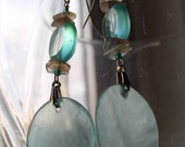 On the Beach - Blue Shell and Glass Dangle Earrings