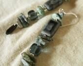 Rock Climbing - Turquoise and Black Dangle Earrings