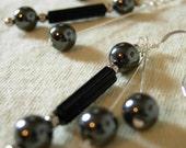 Gravity - Black and Silver Dangle Earrings