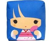 Decorative Pillow, Mini Pillow, Throw Pillow, Kawaii Toy Pillow, Stuffed Doll, Eco-Friendly Printed on Cotton Fabric - Blue Kokeshi Geisha