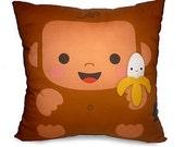 "12 x 12"" Pillow, Monkey Pillow, Decorative Pillow, Kids Cushion, Monkey Decor, Room Decor, Baby Bedroom, Animal Nursery"