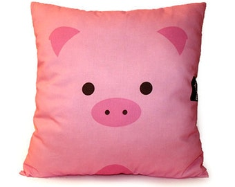 "12 x 12"" Pink Pillow, Animal Pillow, Kids Cushion, Cotton Pillow, Kids Room Decor, Farm Animal Nursery, Kids Bedroom, Toy, Pillow"