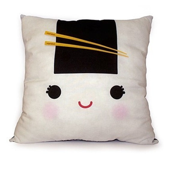 Decorative Deluxe Pillow, Kawaii Print, Toy Pillow, Eco-Friendly Printed - Yummy Onigiri