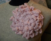 "Pale Pink Flower Statement Brooch, Peony Corsage, Large 7"" Flower with Felted Pin Back"