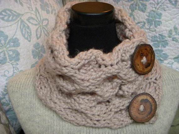 "Knit Cowl Beige Honeycomb Large Chunky Wool Neck Warmer,  2 Reclaimed 2.5"" Wood Buttons"