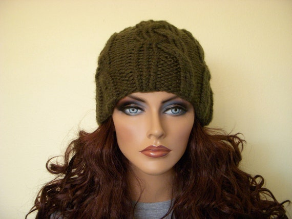 Olive Green Hand Knit Hat Cable Cap Military Green Ribbed Knitted Cap Skully